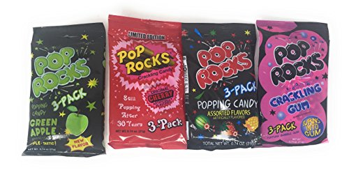 Pop Rocks Candy Bundle of 12 Packs with Cherry, Green Apple, Crackling Gum, and Assorted ()