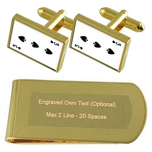 スペードカード番号 3 Gold の遊び方 - トーン カフスボタン お金クリップを刻まれたギフトセット   B074WD8VKJ