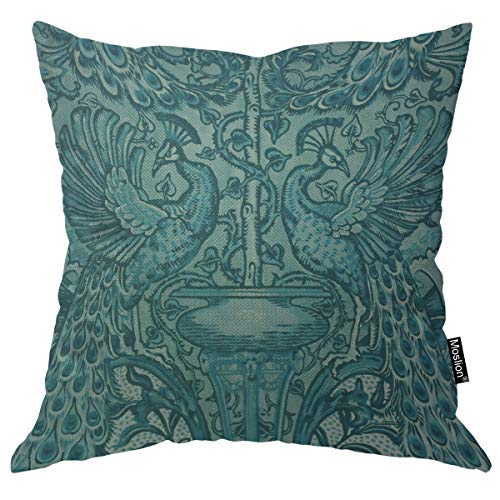 Moslion Throw Pillow Cover Peacock 18x18 Inch Mascot Animal Totem Victorian Flowers Lucky Teal Blue Square Pillow Case Cushion Cover for Home Car Decorative Cotton Linen
