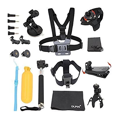 GoPro Accessories Kit (4 in 1) - PEMOTech Sport Camera Accessory Combo Kit for GoPro HD Hero 1 2 3 3+ 4 Elastic Adjustable Head Strap Mount + Chest Mount Harness + Replacement GoPro Tripod Mount + Extendable Self-portrait Monopod