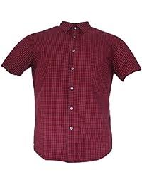 Standard-Fit Short-Sleeve Soft Wash Red Gingham Shirt