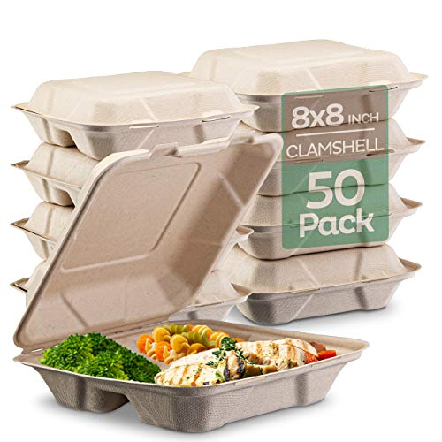 100% Compostable Clamshell Take Out Food Containers [8X8″ 3-Compartment 50-Pack] Heavy-Duty Quality to go Containers, Natural Disposable Bagasse, Eco-Friendly Biodegradable Made of Sugar Cane Fibers