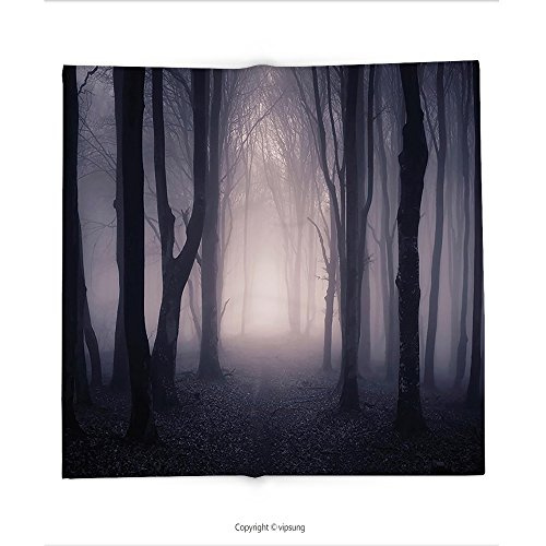 Custom printed Throw Blanket with Decor Path Through Dark Deep in Forest with Fog Halloween Creepy Twisted Branches Picture Pink and Brown Super soft and Cozy Fleece Blanket (Creepy Rock Songs Halloween)