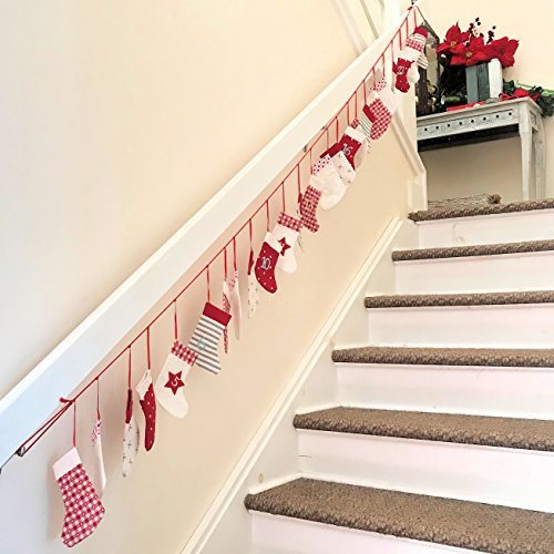 The Christmas Countdown Advent Calendar With 24 Festive Stockings, Garland Of Red And White Assorted Patterns, Cotton, Over 8 Ft Long, Each Stocking 6 Tall , By Whole House Worlds