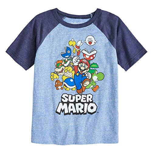 - Jumping Beans Boys 4-10 Nintendo Super Mario Bros. Rad Raglan Graphic Tee 8 Royal Navy