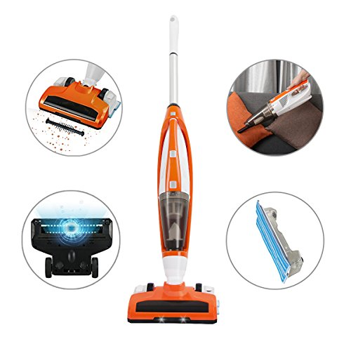 EVERTOP 3+1 Cordless Upright-Style Vacuum Cleaner with Detachable Hand Vacuum for Home and Car, Lightweight Rechargeable Bagless Stick and Handheld Vacuum Swivel Mop Floor Cleaner (Orange) by EVERTOP