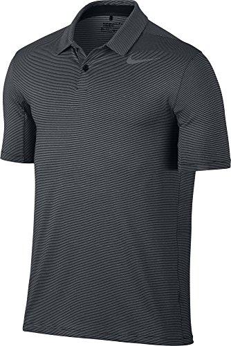 Stripe Mens Golf Polo Shirt - NIKE Dry Control Stripe Men's Golf Polo - Black (2XL)
