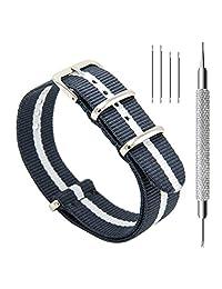 CIVO Watch Bands NATO Premium Ballistic Nylon Watch Strap with Top Spring Bar Tool and Spring Bars Bonus (Dark Grey/Ivory, 20mm)