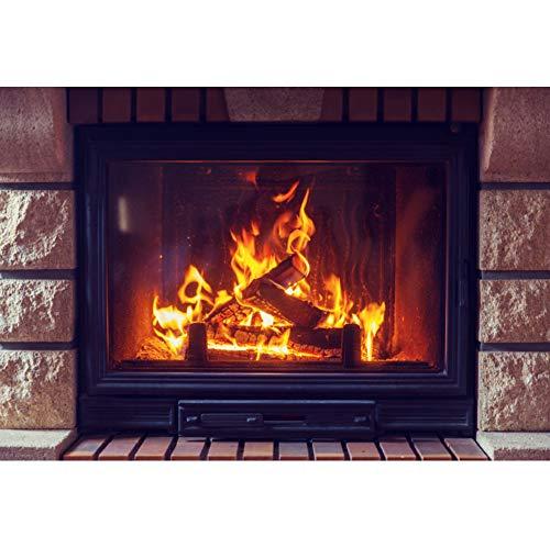 Leowefowa Fireplace with Fire Backdrop 8x6.5ft Vinyl Photography Backgroud Stone Fireside Burning Firewoods Christmas New Year Backdgroud Winter Festival Children Audlt Photo Studio Props ()