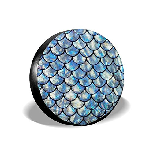 Art-Capital Spare Tire Cover Mermaid Scales Wheel Tire Covers Waterproof UV Protective Wheel Tire Protector Universal Fit for Jeep Car Trailer RV SUV Truck Camper Van 14 15 16 17 Inch