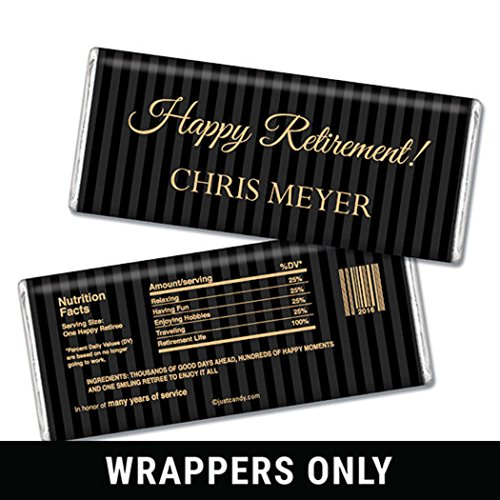 WH Candy Retirement Party Favors - Personalized HERSHEY'S Bars Pinstripe Retirement (25 Wrappers)