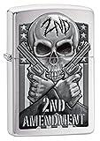 zippo gun - Zippo Custom Lighter: Second Amendment, Skull and Guns - Brushed Chrome 78702