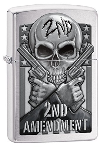 Zippo Custom Lighter: Second Amendment, Skull and Guns - Brushed Chrome 78702 (Skull Zippo)