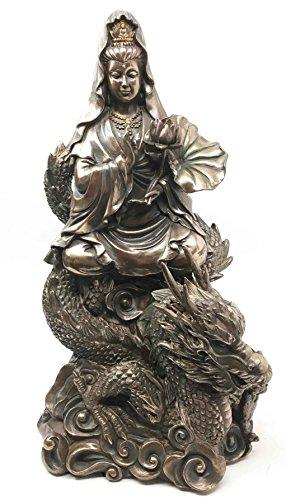 Avalokiteśvara Buddha Kwan Yin Kuan Yin Compassion of All Buddhas Riding On Dragon Figurine Guan Yin