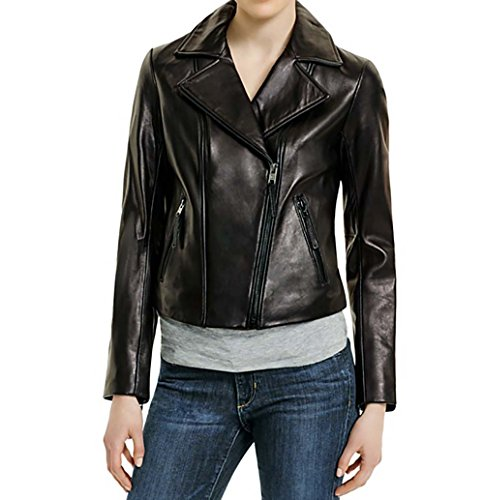 (Michael Kors Motorcycle Leather Jacket-Black-L)