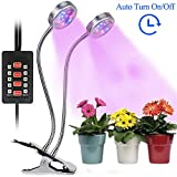 Grow Lights for Indoor Plants, CLTEC 16W 32 LED Bulbs Timming Plant Grow Lamp with Red, Blue Spectrum, 3/6/9/12/15H Timer,Dual Head Control Adjustable Gooseneck, 5 Dimmable Levels[Auto Turn On/Off]