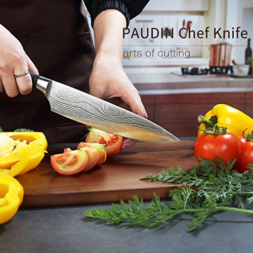 PAUDIN Pro Kitchen Knife 8 Inch Chef's Knife N1 German High Carbon Stainless Steel Knife with Ergonomic Handle, Ultra Sharp, Best Choice for Home Kitchen and Restaurant by PAUDIN (Image #2)