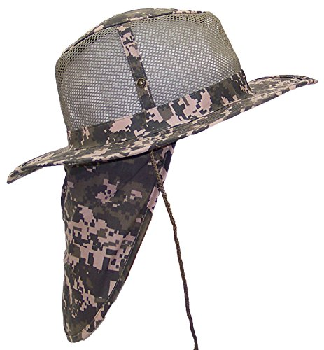 (Tropic Hats Summer Wide Brim Mesh Safari/Outback W/Neck Flap & Snap Up Sides - Digital Camo M)