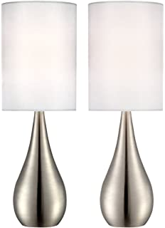 Light accents touch table lamp modern 18 inches tall touch dimmer evans teardrop brushed steel table lamp set of 2 aloadofball Image collections