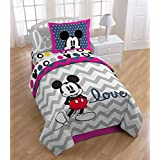 Mickey Mouse Chevron Full Sized 6 Piece Bedding Set - Reversible Comforter, Sham & Sheet Set