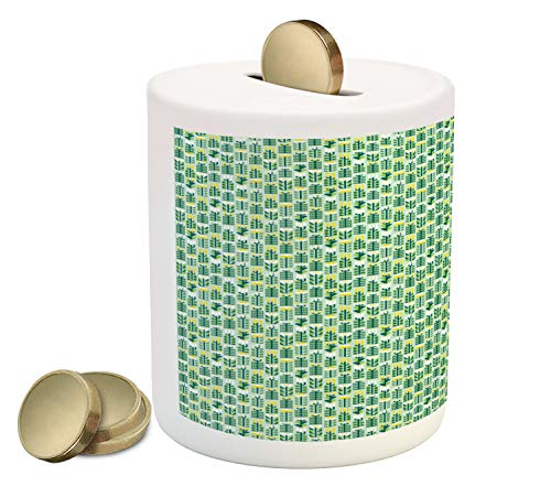 Lunarable Botanical Piggy Bank, Repetitive Pattern with Abstract Herbs and Flowers, Printed Ceramic Coin Bank Money Box for Cash Saving, Mint Green Lime Green Dark Teal Mustard
