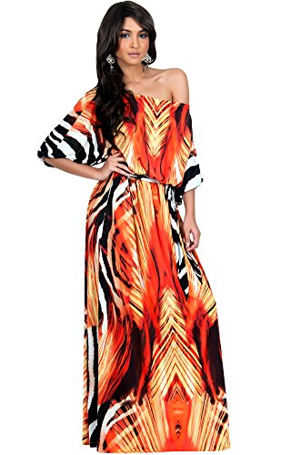 Koh Koh Womens Long One Off The Shoulder Sexy Summer Print
