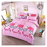 "KFZ Bed SET Beddingset Duvet Cover Set Duvet Cover No Comforter Flat Sheet Pillowcases 4pcs Footprint Peppa Pig Lover Cat Tree Design KSN Twin Size for Kid Sheet Sets(Princess Pig, Pink, Twin,59""x78"")"