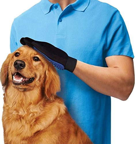 Machao Silicon Pets Hand Brush Glove With 5 Fingers Massage Tool Remove extra hair 2PCS/One Pair-Blue