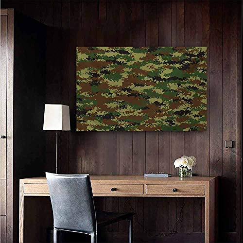 Camo Modern Oil Paintings Grunge Graphic Camouflage Summer Theme Armed Forces Uniform Inspired Dark Canvas Wall Art 20
