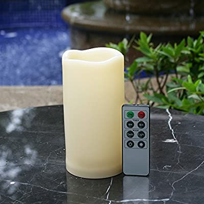 "Outdoor Waterproof Flameless LED Pillar Candle with Remote and Timer Battery Operated Plastic Flickering Decorative Candle Light for Thanksgiving Christmas Wedding Party Event Décor Supplies 3""x 6"""