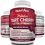 Nutrivein Tart Cherry Capsules 2000mg - 90 Vegan Pills - Antioxidants, Flavonoids - Supports Uric Acid Cleanse, Anti Inflammatory, Muscle Recovery, Joint Pain, Healthy Sleep, Juice Extract Supplement
