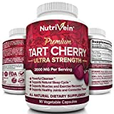 Nutrivein Tart Cherry Capsules 2000mg – 90 Vegan Pills – Antioxidants, Flavonoids – Supports Uric Acid Cleanse, Anti Inflammatory, Muscle Recovery, Joint Pain, Healthy Sleep, Juice Extract Supplement Review
