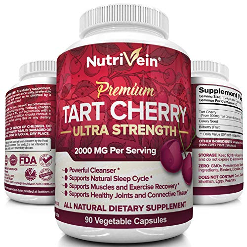 Nutrivein Tart Cherry Capsules 2000mg - 90 Vegan Pills - Antioxidants, Flavonoids - Supports Uric Acid Cleanse, Anti Inflammatory, Muscle Recovery, Joint Pain, Healthy Sleep, Juice Extract Supplement (Best Tart Cherry Juice For Arthritis)