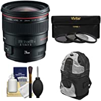 Canon EF 24mm f/1.4L II USM Lens with 3 (UV/ND8/CPL) Filters + Backpack Case + Cleaning Kit for EOS 6D, 70D, 5D Mark II III, Rebel T3, T3i, T4i, T5, T5i, SL1 DSLR Cameras