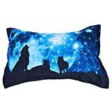 Alicemall Galaxy Wolf Bedding Dreamlike Moonlight 3D Wolf Printed 2 Pieces Pillowcases (2 Pillowcase)