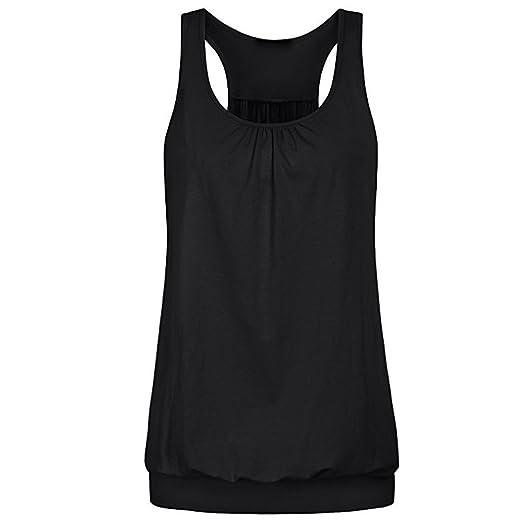 1c0ed9db41632 Women s Tank Tops Yoga Sports Sleeveless Round Neck Racerback Workout  Running Top Camisole Vest Black