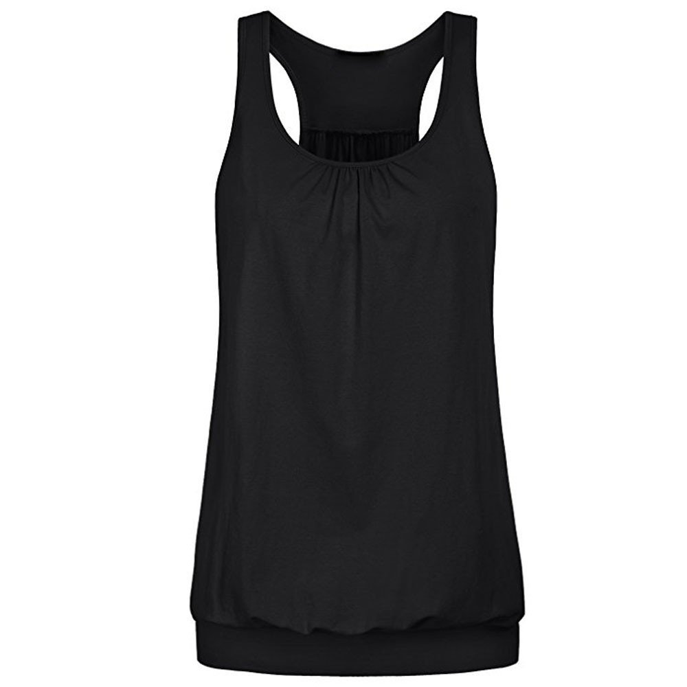 Winsummer Womens Sleeveless Round Neck Loose Fit Racerback Workout Tank Top Flowy Yoga Vest Black
