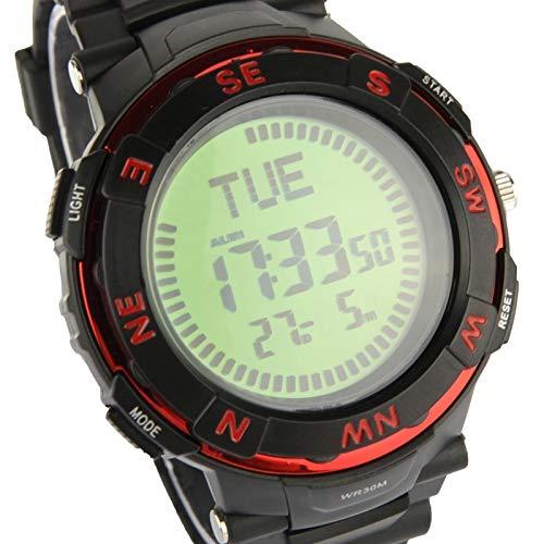 Reloj Sport reloj de pulsera digital Bandana exterior cuarzo con la brújula rojo: Amazon.es: Relojes