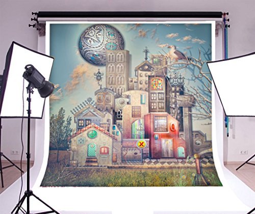 Laeacco 6x6ft Vinyl Photography Backdrop Sureal Town with Fairytales Palace Castle Building Scene Photo Background Children Baby Adults Portraits - Sureal