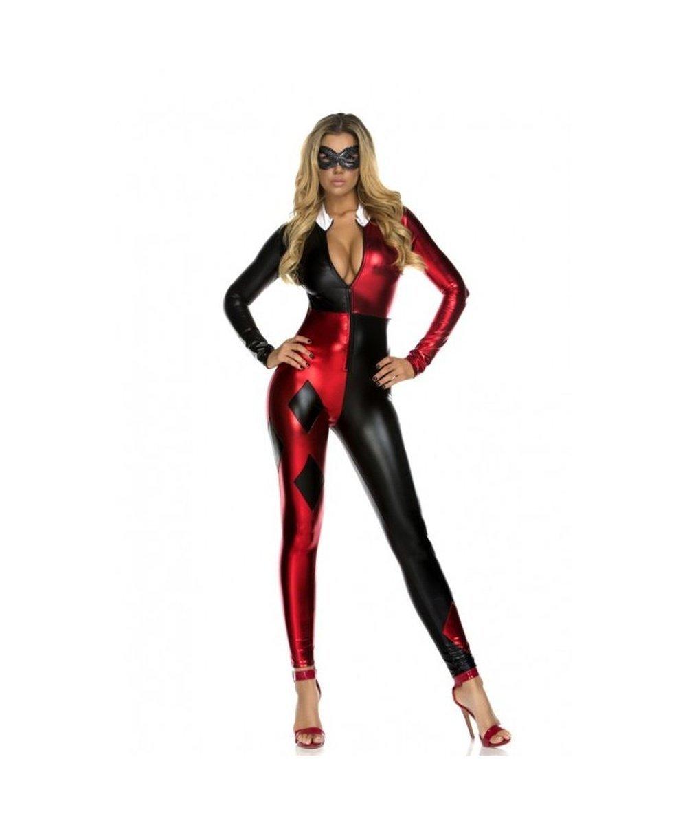Batman Gotham City Harley Quinn Catsuit Womens Sexy Halloween Costume
