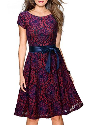 Miusol Women's Vintage Floral Lace Contrast Bow Cocktail Evening Dress(3457)