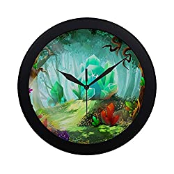 APJDFNKL Modern Simple Legend Diamond Crystal Forest Video Games Wall Clock Indoor Non-Ticking Silent Quartz Quiet Sweep Movement Wall Clcok for Office,Bathroom,livingroom Decorative 9.65 Inch
