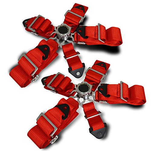 Racing Seat Belt 5 Point Harness Quick Release Camlock - Red 2 Sets