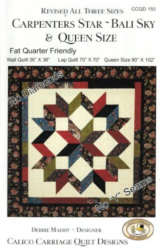 Carpenter's Star-Bali Sky Quilt Pattern, Fat Quarter Friendly, 3 Size Options by Calico Carriage Quilt Designs