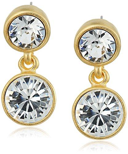 Kenneth Jay Lane 2 Drop Post Earring In Gold Crystal Drop Earrings Crystal Drop Post Earrings