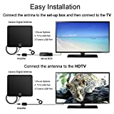 TV Antenna, Accevo Indoor Amplified HDTV Antenna 50 Mile Range with Detachable Amplifier HDTV Signal Booster and 13.2FT High Performance Coax Cable for Better Reception(Black)