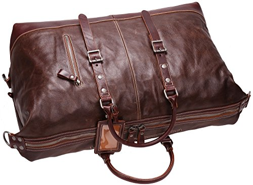 Iblue Genuine Leather Travel Duffel Weekend Bag Luggage Carry On Gym Handbag D05(dark brown) by iblue (Image #3)
