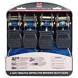 Mann Ratchet Tie Downs Straps with S-hooks 4-Pack Set 1-Inch x 15-Feet 500 Lbs Load Cap - 1500 Lb Break Strength (Blue Stars)