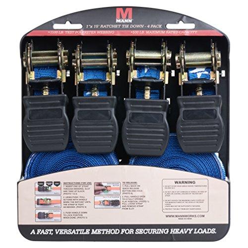 Mann Ratchet Tie Downs Straps with S-hooks 4-Pack Set 1-Inch x 15-Feet 500 Lbs Load Cap - 1500 Lb Break Strength (Blue Stars) by Mann