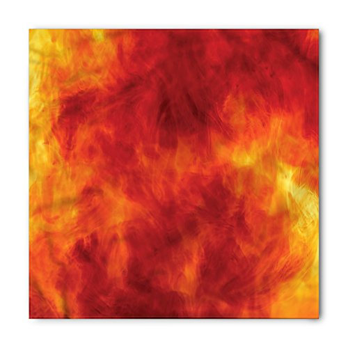 (Orange Bandana by Ambesonne, Graphic of Fire Explosion Vibrant Hot Flames Heat Burning Theme Design Art Print, Printed Unisex Bandana Head and Neck Tie Scarf Headband, 22 X 22 Inches, Orange Yellow)